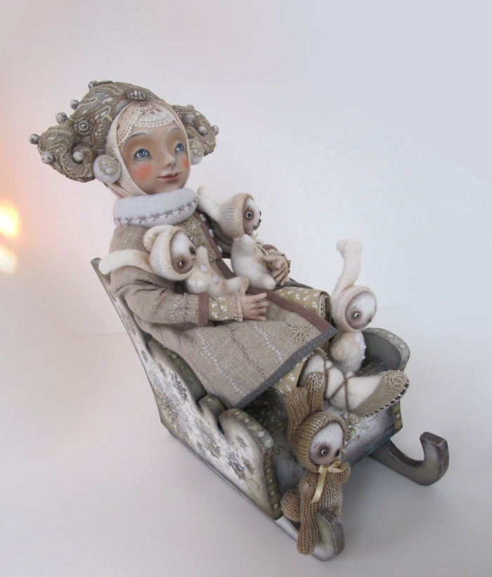 """On a sleigh"" - art doll by Anna Zueva"