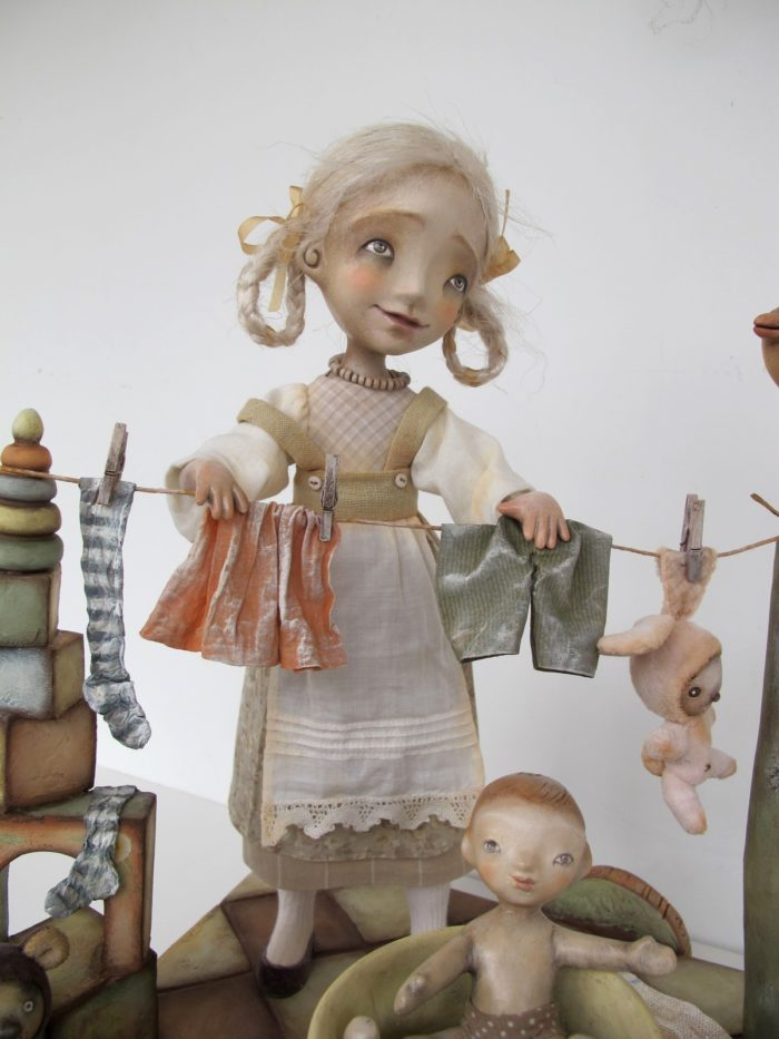 """The Big Wash"" - Original art doll by Anna Zueva."
