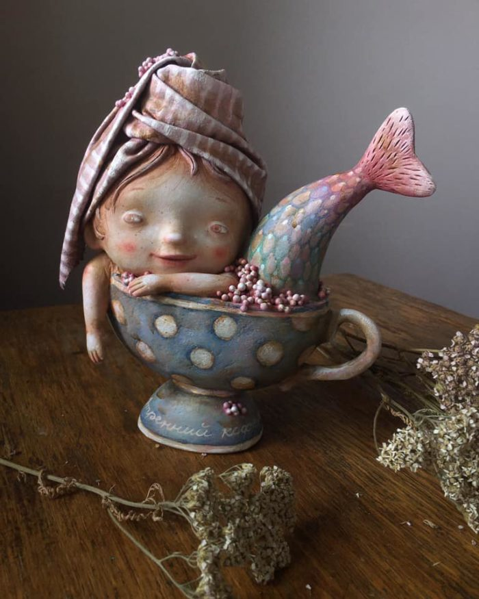 Morning Coffee - art doll by Anna Zueva
